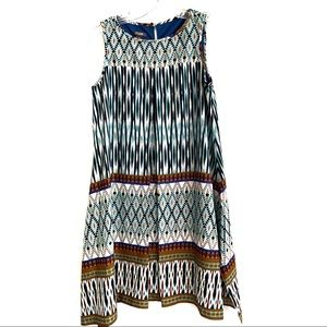 MUSE A-LINE TRIBAL PRINT SLEEVELESS KNEE LENGTH